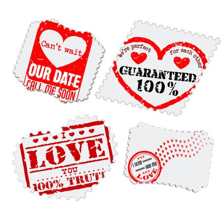true love: Vector Illustration of Love Postage Emblem Stamp Element Design, Website, Background, Letter, Banner. Label   Valentine Day Template for Lovers Romantic Send Illustration