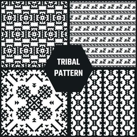 ethno: Vector Illustration of Ethnic Style for Design, Website, Background, Banner. Tribal seamless Pattern Black and White Template for Wallpaper, textile Illustration