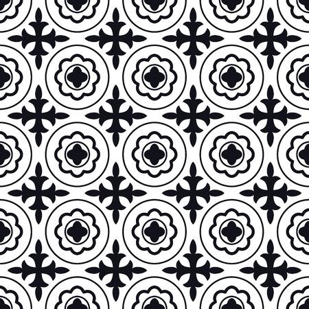 edad media: Ilustración del vector de Marruecos Azulejos Modelo inconsútil de diseño, Web site, fondo, bandera. Elemento de papel tapiz o textil. Plantilla Edad Media Ornamento Textura