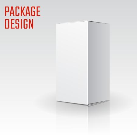 Vector Illustration von Weiß Artikel Pappe Paket Box für Design, Website, Banner. Mockup Element Template für Ihre Marke oder Ihr Produkt. Isoliert auf weißem Hintergrund Standard-Bild - 45987927