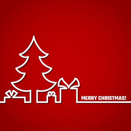 Vector Illustratie: Christmas Outline Backgound voor Design, Website, Banner. Nieuw jaar en Kerstmis Template Element. Kerstboom en doos van geschenken en aanwezig eronder.