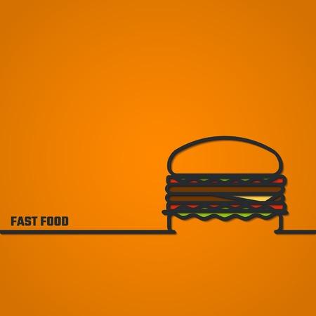 hamburguesa: Ilustraci�n del vector de FastFood Esquema de dise�o, Web site, fondo, infograf�a, Banner. FAt Comida Alimentos Plantilla concepto de Men�. Hamburguesa silueta Vectores