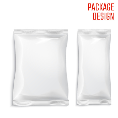 Vector Illustration of Package snack bag on wood shelf with blue background for Design, Website, Background, Banner. Pack Element. Mock up Template for your branding or product