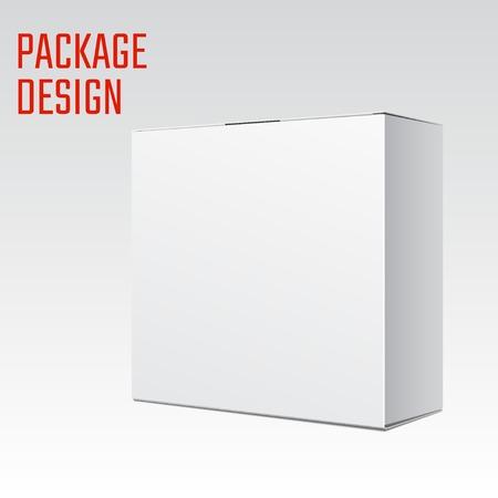 tektura: Ilustracja wektorowa z kartonu białego produktu Pakiet Box dla projektu, stronie internetowej, Banner. Makieta Element Szablon dla Twojej marki lub produktu. Pojedynczo na białym tle