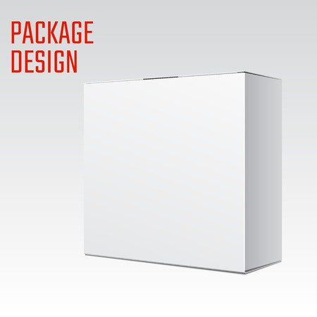 white boxes: Vector Illustration of White Product Cardboard Package Box for Design, Website, Banner. Mockup Element Template for Your Brand or Product. Isolated on White Background