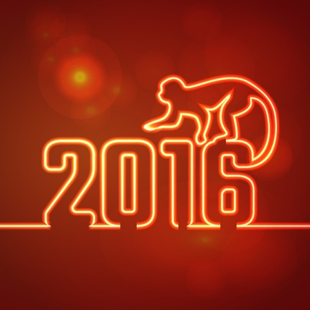 chinese new year element: Vector Illustration of 2016 new year Outline neon light BAckgound for Design, Website, Banner. Holiday party Element Template. Chinese horoscope Monkey silhouette Illustration