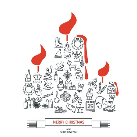 skinny: Vector Illustration of Christmas icons outline for Design, Website, Background, Banner. Thin New year Element Template