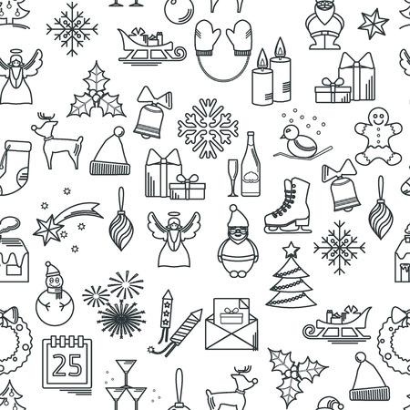 Ilustración Vectorial De Iconos De La Navidad Esquema Para Diseño ...