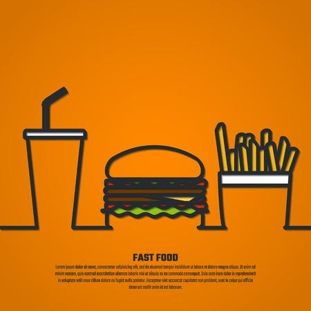 agua con gas: Ilustraci�n del vector de FastFood Esquema de dise�o, Web site, fondo, infograf�a, Banner. FAt Comida Alimentos Plantilla concepto de Men�. Burger, refrescos y fre�r la silueta