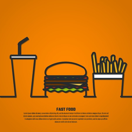 burger and fries: Vector Illustration of Outline FastFood for Design, Website, Background, infographic, Banner. FAt Meal Food concept Template for Menu. Burger, soda and fry silhouette Illustration