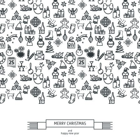 christmas element: Vector Illustration of Christmas icons outline for Design, Website, Background, Banner. Thin New year Element Template