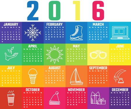 calender icon: Vector Illustration of flat Colorfull rainbow calendar for Design, Website, Background, Banner. Icon of month Template for your company brand Calender