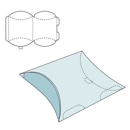 Vector Illustration of Pillow craft Box for Design, Website, Background, Banner. Folding package Template. Fold pack with die line for your brand on it
