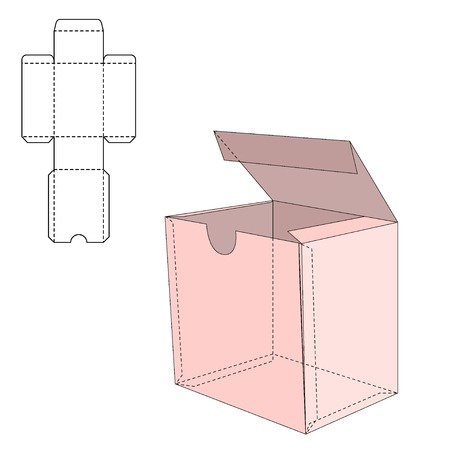 die line: Vector Illustration of Gift craft Box for Design, Website, Background, Banner. Folding package Template. Fold pack with die line for your brand on it