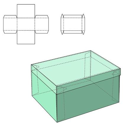charolas: Ilustración del vector de regalo artesanal caja de diseño, Web site, fondo, bandera. Plantilla plegable paquete. Dobla pack con línea de troquel para su marca en ella Vectores