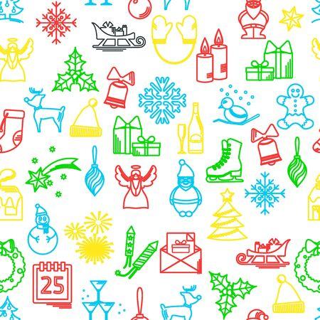 Ilustración Del Vector Del Esquema De Los Iconos De La Navidad Para ...