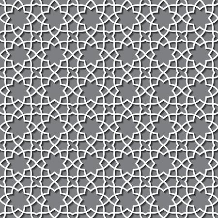 Illustrazione vettoriale di geometrico arabo Seamless per disegno, Web site, sfondo, banner. Elemento islamico per carta da parati o tessile. Bianco ornamento Texture Template Archivio Fotografico - 47422555