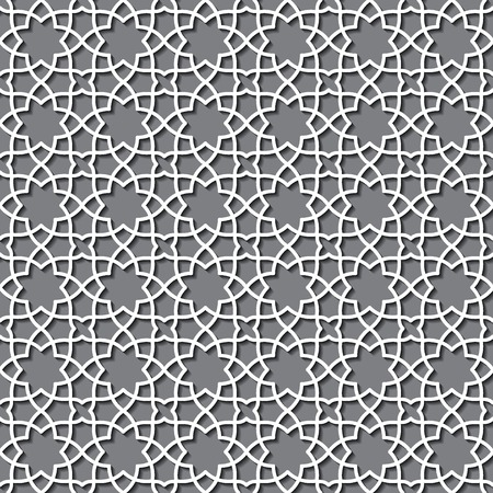 Vector Illustration of Geometric Arabic Seamless Pattern for Design, Website, Background, Banner. Islamic Element for Wallpaper or Textile. White ornament Texture Template