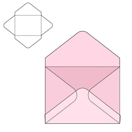 sobres para carta: Ilustración vectorial de papel sobre o caja artesanal de diseño, Web site, fondo, bandera. Plantilla plegable paquete. Doblar paquete postal con la línea de troquel para su marca corporativa en él