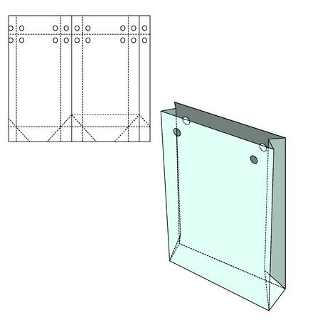 デザイン、背景、バナーのベクトル ショッピング バッグのイラスト テンプレートです。折り畳みパッケージ ギフト。あなたのブランドのための死ぬラインが付いているパックを折ってください。 写真素材 - 47422488