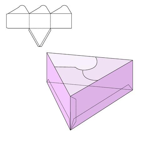 Vector Illustratie van New jaar of verjaardagscadeau ambachtelijke Box voor Design, Website, achtergrond, Banner. Huidige Folding pakket Template. Fold pak met die lijn voor uw merk erop