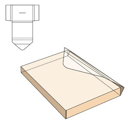 Illustration Vecteur de papier d'enveloppe ou de l'artisanat Box pour la conception, le site, fond, bannière. Pliage package Template. Pliez Pack Poster avec la ligne moule pour votre marque de l'entreprise sur elle