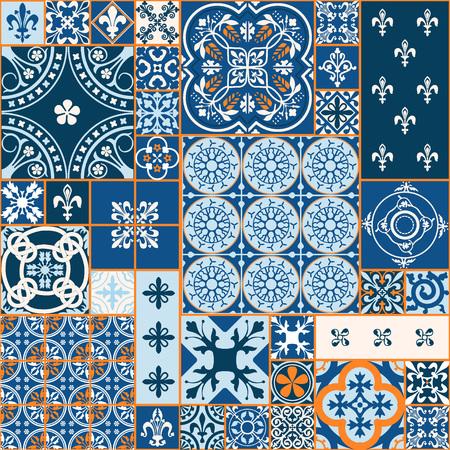 ベクトル図のモロッコ タイルのデザイン、背景、バナーのシームレスなパターン。壁紙やテキスタイルの要素です。中世飾りテクスチャ テンプレー  イラスト・ベクター素材