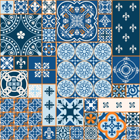 textile: Vector Illustration of Moroccan tiles Seamless Pattern for Design, Website, Background, Banner. Element for Wallpaper or Textile. Middle Ages Ornament Texture Template