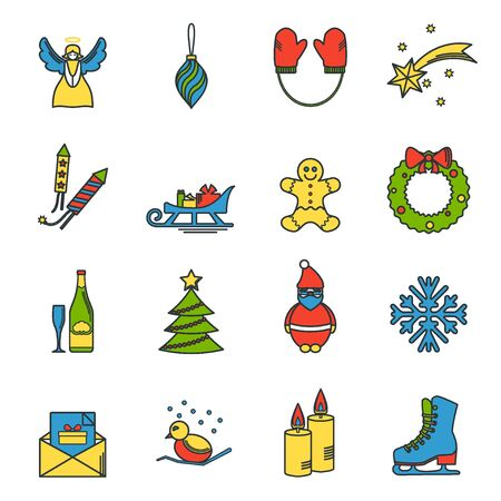 angel tree: Vector Illustration of Christmas icons set outline for Design, Website, Background, Banner. Thin New year Element Template for your holiday infographic