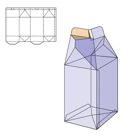 die line: Vector Illustration of Milk or juice craft Box for Design, Website, Background, Banner. Folding package Template. Fold pack with die line for your brand on it Illustration