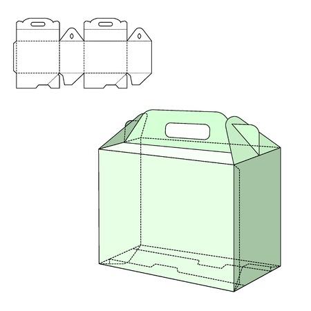 Vector Illustration of Gift Box mestiere per il Design, sito web, Sfondo, Striscione. Pieghevole pacchetto modello. Fold pacco con la linea di morire per la vostra marca su di esso Archivio Fotografico - 48124162
