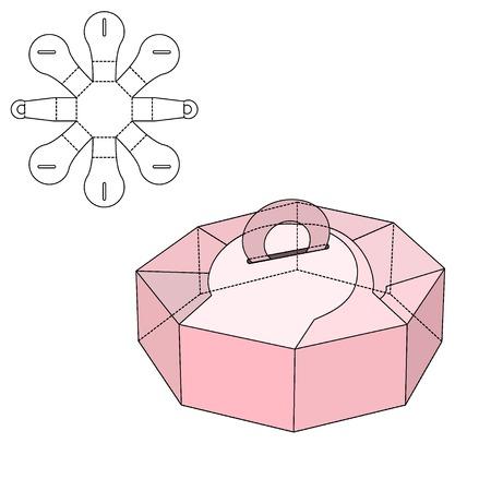 almuerzo: Ilustración del vector de regalo artesanal caja de diseño, Web site, fondo, bandera. Plantilla plegable paquete. Dobla pack con línea de troquel para su marca en ella Vectores