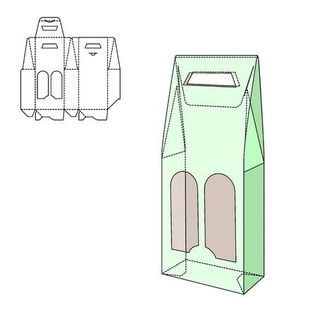 botella: Ilustración del vector de regalo artesanal caja de diseño, Web site, fondo, bandera. Plegable paquete Plantilla botella de vid. Dobla alhogol pack con línea de troquel para su marca en ella
