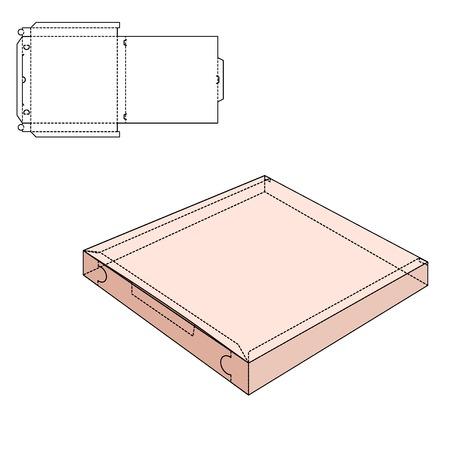 Vecteur de pizza artisanale Box pour la conception, le site, fond, bannière. Livraison Folding package Template. Pliez pack avec ligne moule pour votre marque sur elle Banque d'images - 48116863
