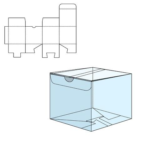 cajas de carton: Ilustración del vector de regalo artesanal caja de diseño, Web site, fondo, bandera. Plantilla plegable paquete. Dobla pack con línea de troquel para su marca en ella Vectores