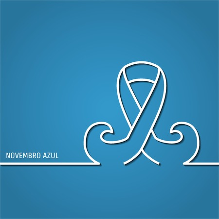 Vector Illustration of outline Prostate cancer ribbon awareness for Design, Website, Background, Banner. Ribbon with mustache Element. Template for novembro azul Ilustracja