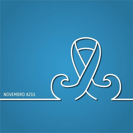 prostate: Vector Illustration of outline Prostate cancer ribbon awareness for Design, Website, Background, Banner. Ribbon with mustache Element. Template for novembro azul Illustration