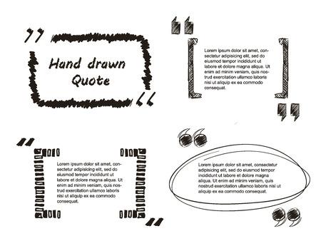 Vector Illustratie van de Quote hand getekend voor Design, Website, achtergrond, Banner. Template Element Note bubble symbool