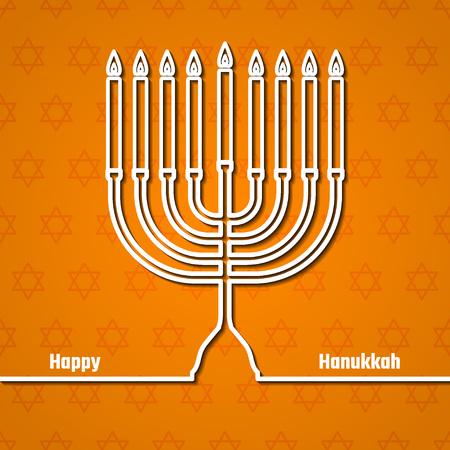 menora: Vector Illustration of happy Hanukkah for Design, Website, Background, Banner. Outline Candle Element Template Illustration
