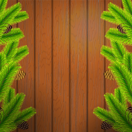 pine decoration: Vector Illustration of Christmas tree branch on wood texture for Design, Website, Background, Banner. Xmas Pine decoration Element Template.