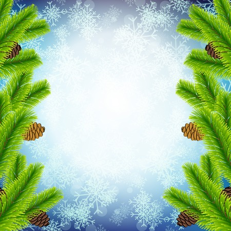 christmas border: Vector Illustration of Christmas tree branch on snowflake texture for Design, Website, Background, Banner. Xmas Pine decoration Element Template. Illustration