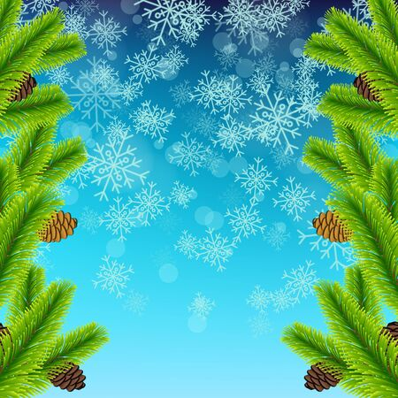 pine decoration: Vector Illustration of Christmas tree branch on snowflake texture for Design, Website, Background, Banner. Xmas Pine decoration Element Template. Vectores