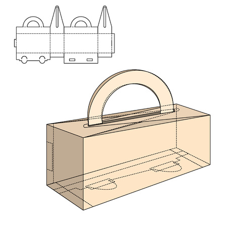 fold: Illustration of Gift craft Box for Design Illustration