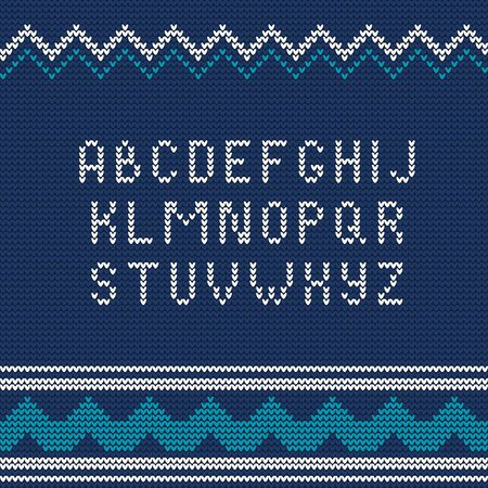typography: Illustration of Christmas Knitted font Ugly sweater style for Design Illustration
