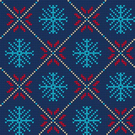 sueter: Ilustración del vector de Ugly suéter sin fisuras patrón de diseño, Web site, fondo, bandera. Paño de la Feliz Navidad de punto retro con la plantilla de elementos del copo de nieve