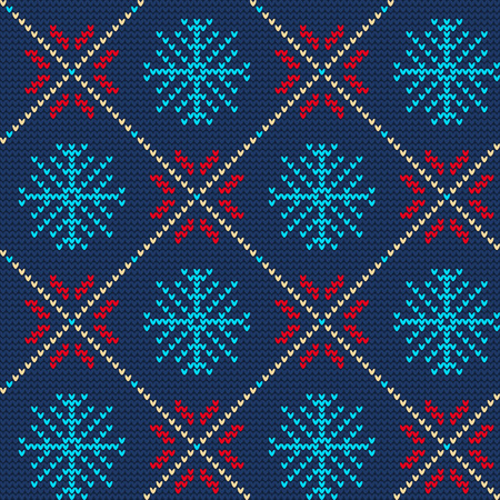 Vector Illustration of Ugly sweater seamless Pattern for Design, Website, Background, Banner. Merry christmas Knitted Retro cloth with Snowflake Element Template Фото со стока - 49450924