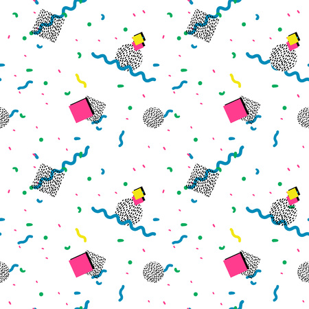 90s: Vector Illustration of Seamless pattern in memphis style Design, Website, Background, Banner.  Retro abstract geometric Element Template. 80s 90s style