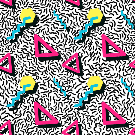Vector Illustration of Seamless pattern in memphis style Design, Website, Background, Banner.  Retro abstract geometric Element Template. 80s 90s style