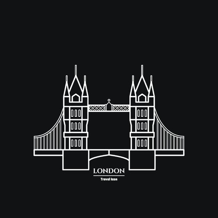tower of london: Vector Illustration of Tower bridge Icon Outline for Design, Website, Background, Banner. Travel Britain Landmark silhouette Element Template for Tourism Flyer Illustration