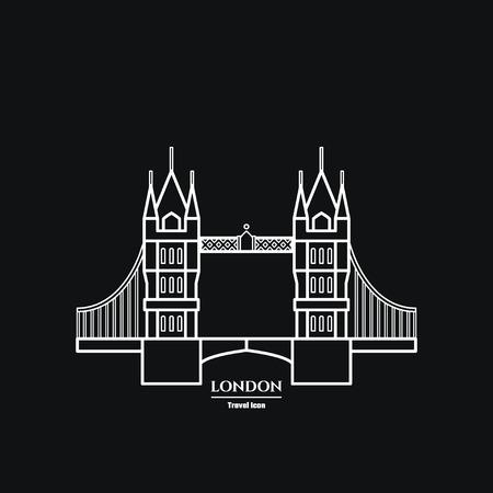 london tower bridge: Vector Illustration of Tower bridge Icon Outline for Design, Website, Background, Banner. Travel Britain Landmark silhouette Element Template for Tourism Flyer Illustration